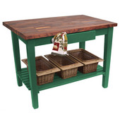 Blended Walnut Classic Country Work Table, 48'' or 60'' W x 36'' D x 35''H, 1 Shelf, Clover Green