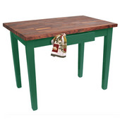 Blended Walnut Classic Country Work Table, 36'', 48'', or 60'' W x 25'' D x 35''H, Clover Green