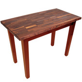 Blended Walnut Classic Country Work Table, 48'' or 60'' W x 36'' D x 35''H, Warm Cherry Stain