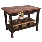 Blended Walnut Classic Country Work Table, 48'' or 60'' W x 36'' D x 35''H, 1 Shelf, French Roast