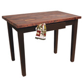 Blended Walnut Classic Country Work Table, 48'' or 60'' W x 36'' D x 35''H, French Roast