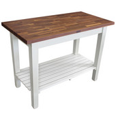 Blended Walnut Classic Country Work Table, 48'' or 60'' W x 30'' D x 35''H, 1 Shelf, Alabaster