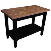 Blended Walnut Classic Country Work Table, 48'' or 60'' W x 30'' D x 35''H, 1 Shelf, Black