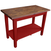 Blended Walnut Classic Country Work Table, 48'' or 60'' W x 36'' D x 35''H, 1 Shelf, Barn Red