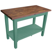 Blended Walnut Classic Country Work Table, 48'' or 60'' W x 36'' D x 35''H, 1 Shelf, Basil