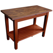 Blended Walnut Classic Country Work Table, 48'' or 60'' W x 30'' D x 35''H, 1 Shelf, Warm Cherry Stain