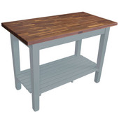 Blended Walnut Classic Country Work Table, 36'', 48'', or 60'' W x 25'' D x 35''H, 1 Shelf, Slate Gray