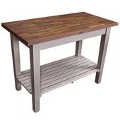 Blended Walnut Classic Country Work Table, 48'' or 60'' W x 30'' D x 35''H, 1 Shelf, Useful Gray Stain