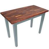 Blended Walnut Classic Country Work Table, 36'', 48'', or 60'' W x 25'' D x 35''H, Slate Gray