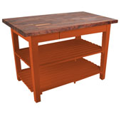 Blended Walnut Classic Country Work Table, 48'' or 60'' W x 30'' D x 35''H, 2 Shelves, Spicy Latte