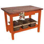 Blended Walnut Classic Country Work Table, 48'' or 60'' W x 36'' D x 35''H, 1 Shelf, Spicy Latte
