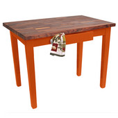Blended Walnut Classic Country Work Table, 48'' or 60'' W x 30'' D x 35''H, Spicy Latte