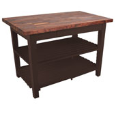 Blended Walnut Classic Country Work Table, 48'' or 60'' W x 36'' D x 35''H, 2 Shelves, Walnut Stain