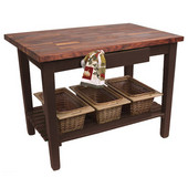 Blended Walnut Classic Country Work Table, 36'', 48'', or 60'' W x 25'' D x 35''H, 1 Shelf, Walnut Stain