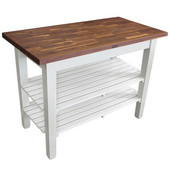Blended Walnut Classic Country Work Table, 36'', 48'', or 60'' W x 25'' D x 35''H, 2 Shelves, Alabaster