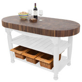 Harvest Table with 4'' Thick End Grain Walnut Oval Top & 3 Wicker Baskets, 60'' W x 30'' D x 4''H, Alabaster