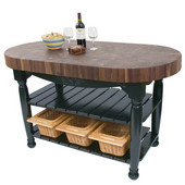 Harvest Table with 4'' Thick End Grain Walnut Oval Top & 3 Wicker Baskets, 60'' W x 30'' D x 4''H, Black