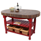 Harvest Table with 4'' Thick End Grain Walnut Oval Top & 3 Wicker Baskets, 60'' W x 30'' D x 4''H, Barn Red
