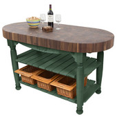 Harvest Table with 4'' Thick End Grain Walnut Oval Top & 3 Wicker Baskets, 60'' W x 30'' D x 4''H, Basil