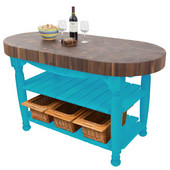 Harvest Table with 4'' Thick End Grain Walnut Oval Top & 3 Wicker Baskets, 60'' W x 30'' D x 4''H, Caribbean Blue