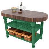Harvest Table with 4'' Thick End Grain Walnut Oval Top & 3 Wicker Baskets, 60'' W x 30'' D x 4''H, Clover Green
