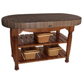 Harvest Table with 4'' Thick End Grain Walnut Oval Top & 3 Wicker Baskets, 60'' W x 30'' D x 4''H, Cherry Stain