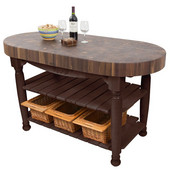 Harvest Table with 4'' Thick End Grain Walnut Oval Top & 3 Wicker Baskets, 60'' W x 30'' D x 4''H, French Roast