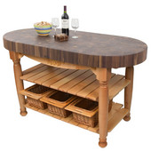 Harvest Table with 4'' Thick End Grain Walnut Oval Top & 3 Wicker Baskets, 60'' W x 30'' D x 4''H, Natural Maple