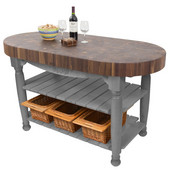 Harvest Table with 4'' Thick End Grain Walnut Oval Top & 3 Wicker Baskets, 60'' W x 30'' D x 4''H, Slate Gray