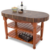Harvest Table with 4'' Thick End Grain Walnut Oval Top & 3 Wicker Baskets, 60'' W x 30'' D x 4''H, Spicy Latte