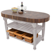 Harvest Table with 4'' Thick End Grain Walnut Oval Top & 3 Wicker Baskets, 60'' W x 30'' D x 4''H, Useful Gray Stain