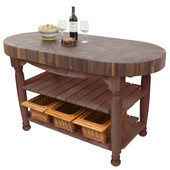 Harvest Table with 4'' Thick End Grain Walnut Oval Top & 3 Wicker Baskets, 60'' W x 30'' D x 4''H, Walnut Stain