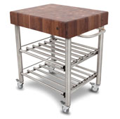Cucina D' Amico Wine Cart with Walnut End Grain Butcher Block Top & Electrical Outlet, 12 Bottle Capacity, 30'' W x 24'' D x 35-1/2'' H, Stainless Steel