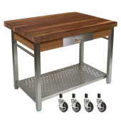 Walnut Cucina Grande Kitchen Work Table with 8'' Drop Leaf & Casters, 60'' W x 36'' D x 35''H