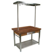 Walnut Cucina Grande Kitchen Work Table with 8'' Drop Leaf & 60'' W Above Table Pot Rack, 60'' W x 36'' D x 35''H
