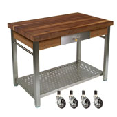 Walnut Cucina Grande Kitchen Work Table, with Casters, 48'' W x 28'' D x 35''H