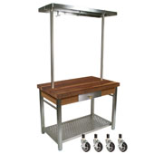 Walnut Cucina Grande Kitchen Work Table, with 60'' W Above Table Pot Rack & Casters, 60'' W x 28'' D x 35''H