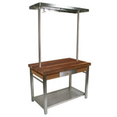 Walnut Cucina Grande Kitchen Work Table with 60'' W Above Table Pot Rack, 60'' W x 28'' D x 35''H