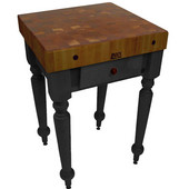 Cucina Rustica Kitchen Island with 4'' Thick Walnut End Grain Top, Black, 30'' W, 1 Drawer