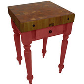 Cucina Rustica Kitchen Island with 4'' Thick Walnut End Grain Top, Barn Red, 30'' W, 1 Drawer