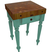 Rustica Kitchen Island with 4'' Thick Walnut End Grain Top, Basil, 30'' W, 1 Drawer
