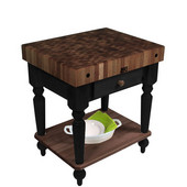Rustica Kitchen Island with 4'' Thick Walnut End Grain Top, Black, 30'' W, 1 Drawer & Shelf