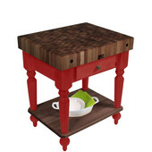 Cucina Rustica Kitchen Island with 4'' Thick Walnut End Grain Top, Barn Red, 30'' W, 1 Drawer & Shelf
