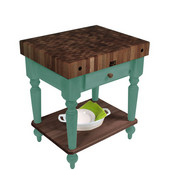 Rustica Kitchen Island with 4'' Thick Walnut End Grain Top, Basil, 30'' W, 1 Drawer & Shelf