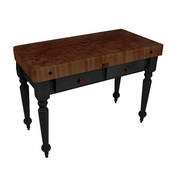 Rustica Kitchen Island with 4'' Thick Walnut End Grain Top, Black, 48'' W, 2 Drawers