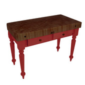 Rustica Kitchen Island with 4'' Thick Walnut End Grain Top, Barn Red, 48'' W, 2 Drawers