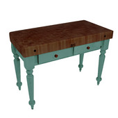 Rustica Kitchen Island with 4'' Thick Walnut End Grain Top, Basil, 48'' W, 2 Drawers