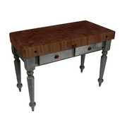 Rustica Kitchen Island with 4'' Thick Walnut End Grain Top, Slate Gray, 48'' W, 2 Drawers