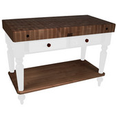 Rustica Kitchen Island with 4'' Thick Walnut End Grain Top, Alabaster, 48'' W, 2 Drawers & Shelf