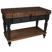 Cucina Rustica Kitchen Island with 4'' Thick Walnut End Grain Top, Black, 48'' W, 2 Drawers & Shelf